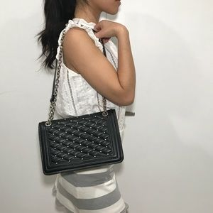 Zara studded black leather bag